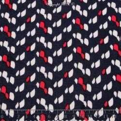 Tissu Microfibre Imprimé Tache Blanche et Rouge Fond Marine