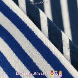 Magnifique Jersey 100 % Coton Double Face Imprimé Motif Rayures Bleu Électrique, Verso : Rayures Bleu Marine Sur Fond Blanc