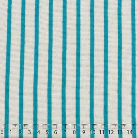 Jersey Coton Imprimé Réversible Motif Fines Rayures Bleu Turquoise Sur Fond Blanc. 15 x 15 cm Photo.