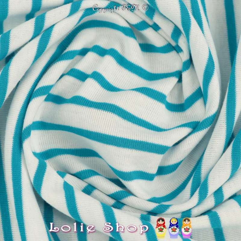 Jersey Coton Imprimé Réversible Motif Fines Rayures Bleu Turquoise Sur Fond Blanc.
