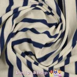 Jersey Coton Imprimé Réversible Motif Fines Rayures Bleu Marine Sur Fond Blanc d'Ivoire
