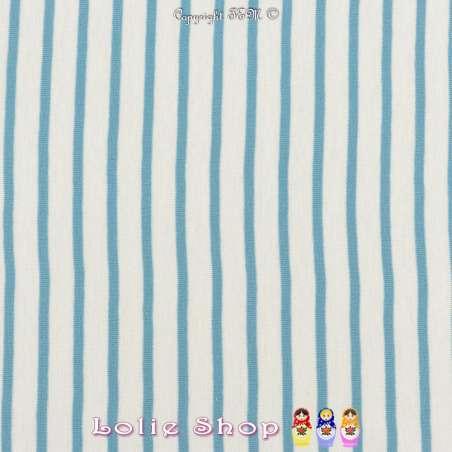 Jersey Coton Imprimé Réversible Motif Fines Rayures Azur Clair Fond Blanc.