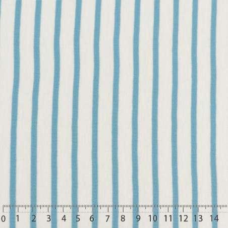 Jersey Coton Imprimé Réversible Motif Fines Rayures Azur Clair Sur Fond Blanc 15 x 15 cm Photo.