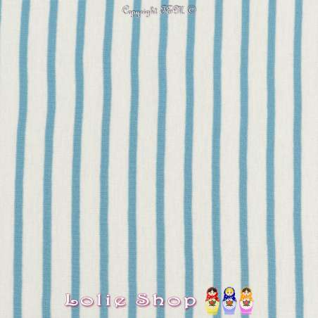 Jersey Coton Imprimé Réversible Motif Fines Rayures Azur Clair Sur Fond Blanc.