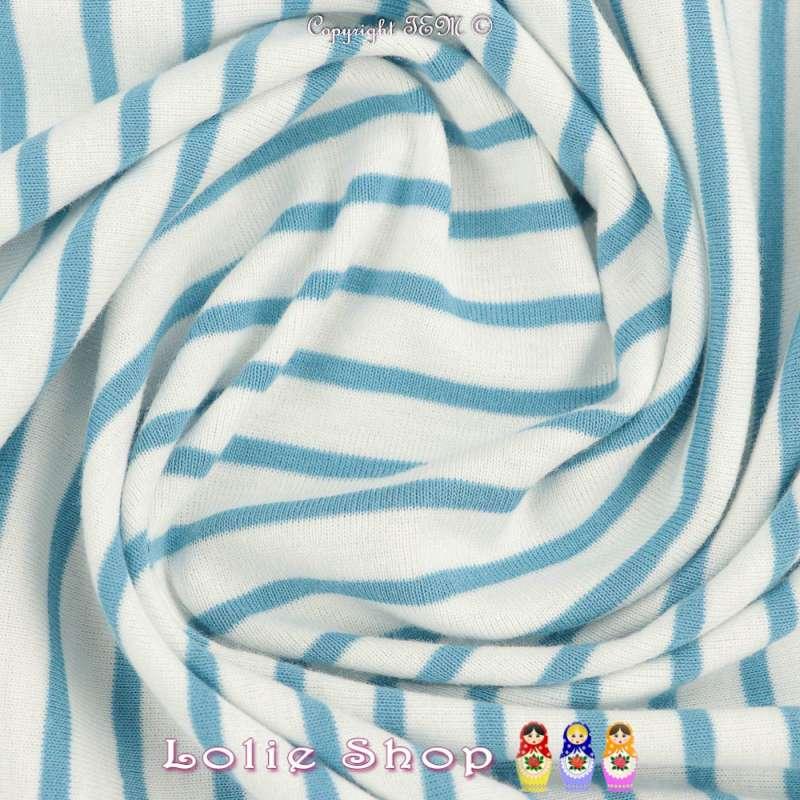 Jersey Coton Imprimé Réversible Motif Fines Rayures Azur Clair Fond Blanc .