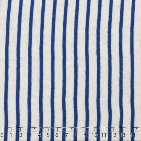 Jersey Coton Imprimé Réversible Motif Fines Rayures Bleu Égyptien Sur Fond Blanc 15 x 15 cm Photo.