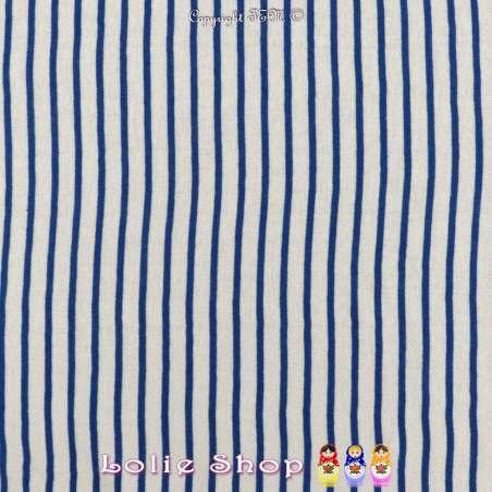 Jersey Coton Imprimé Réversible Motif Fines Rayures Bleu Égyptien Sur Fond Blanc .