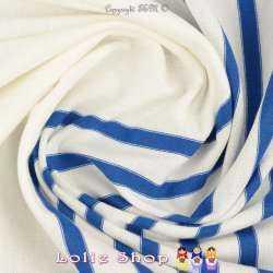 Jersey Coton Imprimé Réversible Motif Fines Rayures Bleu Électrique surpiqué Fil Blanc Sur Fond Blanc