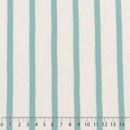 Jersey Coton Imprimé Réversible Motif Fines Rayures Bleu Givré Sur Fond Blanc. 15 x 15 cm Photo.