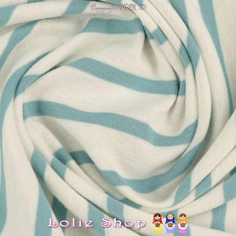 Jersey Coton Imprimé Réversible Motif Fines Rayures Bleu Givré Sur Fond Blanc