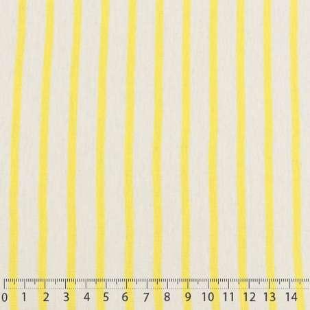 Jersey Coton Imprimé Réversible Motif Fines Rayures Jaune De Colbat Sur Fond Blanc de Troyes Chiné. 15 x 15 cm Photo.