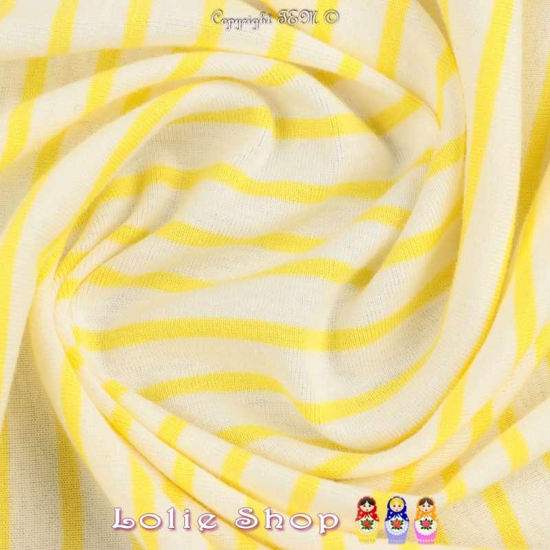 Jersey Coton Imprimé Réversible Motif Fines Rayures Jaune De Colbat Sur Fond Blanc de Troyes Chiné.