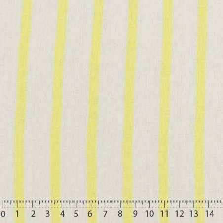 Jersey Coton Imprimé Réversible Motif Fines Rayures Jaune Mimosa Sur Fond Blanc Chiné. 15 x 15 cm Photo.