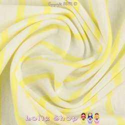 Jersey Coton Imprimé Réversible Motif Fines Rayures Jaune Mimosa Sur Fond Blanc Chiné.