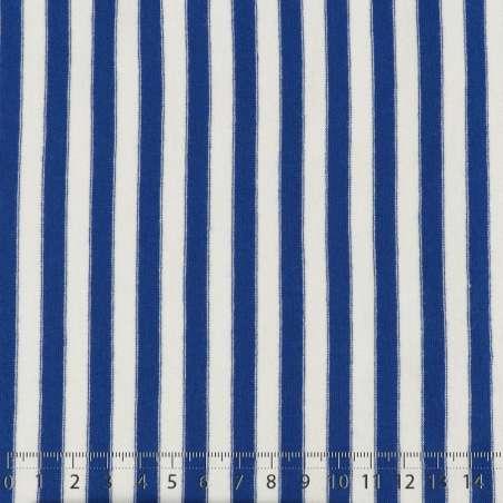 Jersey Coton Imprimé Réversible Motif Fines Rayures Bleu Électrique Sur Fond Blanc Chiné. 15 x 15 cm Photo.