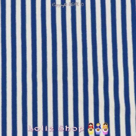 Jersey Coton Imprimé Réversible Motif Fines Rayures Bleu Électrique Sur Fond Blanc Chiné