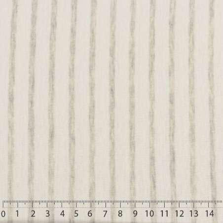 Jersey Coton Imprimé Réversible Motif Fines Rayures Gris Chiné Sur Fond Blanc. 15 x 15 cm Photo.