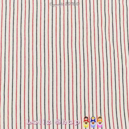 Magnifique Jersey Coton Imprimé Réversible Motif Fines Rayures Rouge Aniline et Noir Sur Fond Blanc.