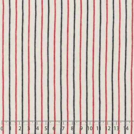 Magnifique Jersey Coton Imprimé Réversible Motif Fines Rayures Rouge Aniline et Noir Sur Fond Blanc. 15 x 15 cm Photo.