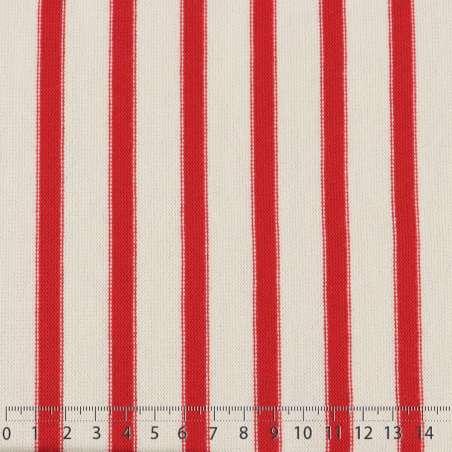 Jersey Coton Maille Bloquer Imprimé Motif Rayures Rouge Aniline Sur Fond Blanc. 15 x 15 cm Photo.