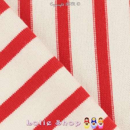 Jersey Coton Maille Bloquer Imprimé Motif Rayures Rouge Aniline Sur Fond Blanc.