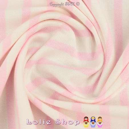 Jersey Coton Maille Bloqué Imprimé Motif Rayures Rose dragée Sur Fond Blanc.