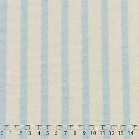 Jersey Coton Maille Bloqué Imprimé Motif Rayures Azur Clair Sur Fond Blanc.15 x 15 cm Photo.