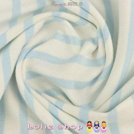 Jersey Coton Maille Bloqué Imprimé Motif Rayures Azur Clair Sur Fond Blanc.