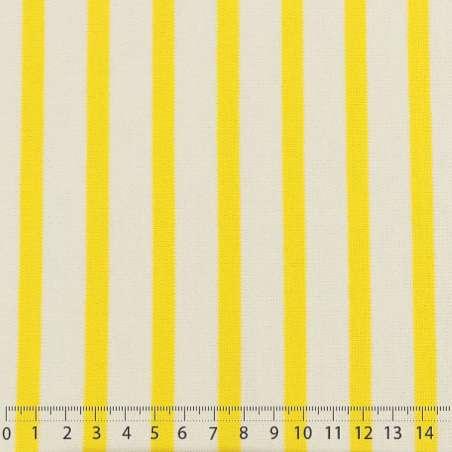 Jersey Coton Maille Bloqué Imprimé Motif Rayures Jaune de Colbat Sur Fond Blanc. 15 x 15 cm Photo.