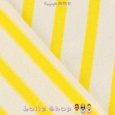 Jersey Coton Maille Bloqué Imprimé Motif Rayures Jaune de Colbat Sur Fond Blanc