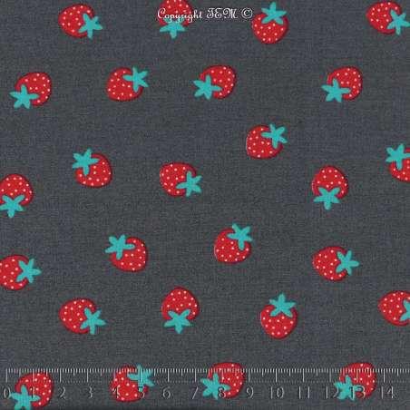 Popeline Coton Imprimé Motif Fraises Rouge & Cyan Fond anthracite. 15 x 15 cm Photo.