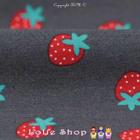 Popeline Coton Imprimé Motif Fraises Rouge & Cyan Fond anthracite