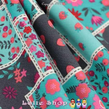 Popeline Coton Imprimé Fraises & Fleurs De Couleurs Sur Fond Azur Clair & Anthracite