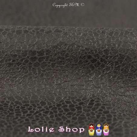 Simili-Cuir Élasthanne Effet Croute Noir Mat