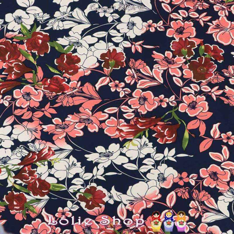 Jersey Cristal Gomme JALOUSE Imprimé Thème Fleuris Nuance de Rose