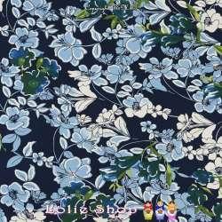 Jersey Cristal Gomme JALOUSE Imprimé Thème Fleuris Nuance de Bleu