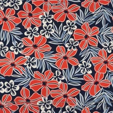 Jersey Cristal Gomme Imprimé Fleurs Colorées Fond Marine. 15 x 15 cm Photo.