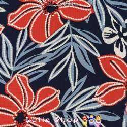 Jersey Cristal Gomme Imprimé Fleurs Colorées Fond Marine