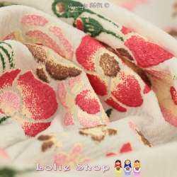 Jersey Maille LIVERPOOL Floqué Gomme Fleurs de Satin Fond Blanc