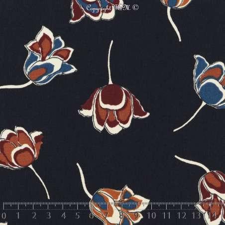Microfibre Imprimé Fleurs Nuances de Couleurs Fond Bleu Marine