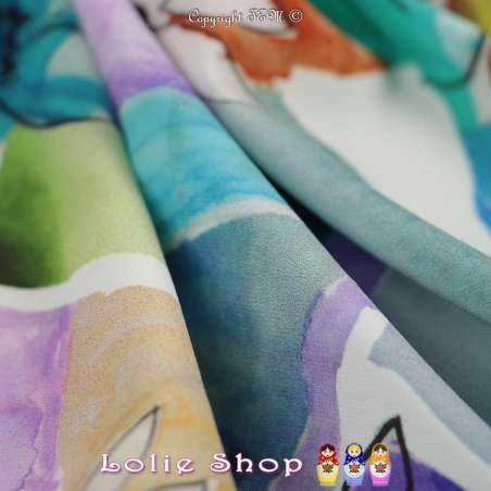 Microfibre Élasthanne Imprimé Fleurs et Mosaïques Coloré