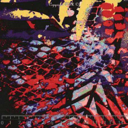 Jersey Cristal TROPIC Imprimé Thème Jungle Sauvages Effet Pochoir Multicolore Fond Noir. 15 x 15 cm Photo.