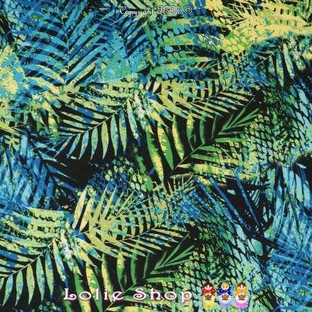 Jersey Cristal TROPIC Imprimé Thème Jungle Sauvages Effet Pochoir Multicolore Fond Noir