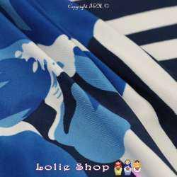 Jersey Cristal ANADELLA Imprimé Thème Été Marin Nuance Bleu Fond Marine