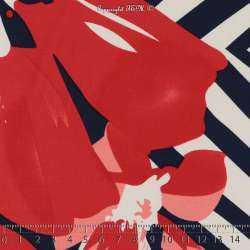 Jersey Cristal ANADELLA Imprimé Thème Été Marin Nuance de Rouge Fond Marine. 15 x 15 cm Photo.