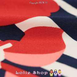 Jersey Cristal ANADELLA Imprimé Thème Été Marin Nuance de Rouge Fond Marine