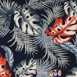 Jersey Cristal LUCIE Imprimé Thème Monstera carreaux / léopard Fond Marine