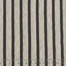 Jersey Coton Imprimé Motif Rayures Double Face Fond Blanc/Gris