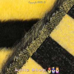 Fourrure Synthétique Imprimé Couleur Abeilles Rayure Larges