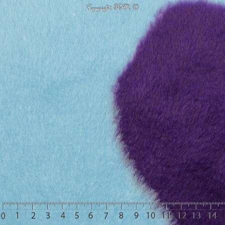 Fourrure Synthétique Imprimé Peau de Vache Bleu & Pourpre